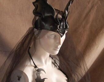"Black leather wolf ears, ""Wolf Queen"" crown, headdress"