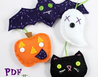Felt Halloween Ornaments. PDF Pattern. Sewing Pattern. Cute Decorations. Black Cat. Jack o Lantern. Pumpkin. Bat. Ghost. Beginner Kids Craft