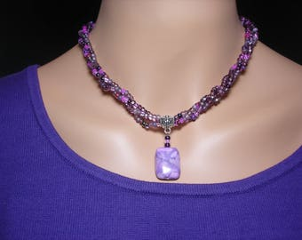 Purple and Pink Braided Necklace