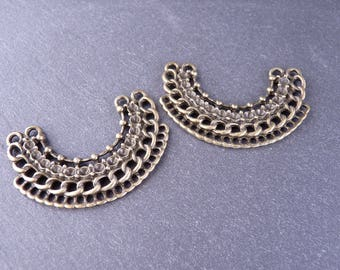2 connectors half-moon 21 holes 25 x 38 mm - bronze
