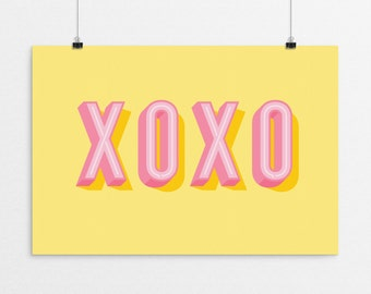 XOXO Typography - a design print // 8.5x11 or 13x19 // 5 color options // Scandinavian modern nursery