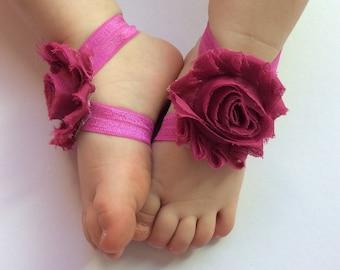 Magenta barefoot sandals - baby- barefoot sandals- purple