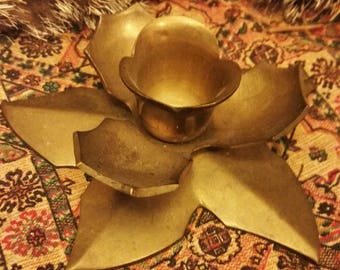 Antique Brass Lotus Candle Holder