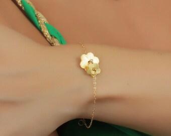 Daisy Bracelet - Flower Girl Bracelet - Daisy Bridal Shower - Gold Flower Bracelet - Sweet 16 Gift- Custom Bracelet - Baby Bracelet - 0038BB