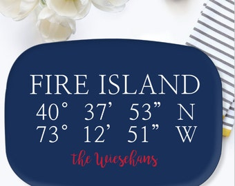 Personalized Wedding Platter - Coordinates platter - Hostess Gift - Custom Wedding Gift - Engagement Gift - Beach House Decor Choose Colors