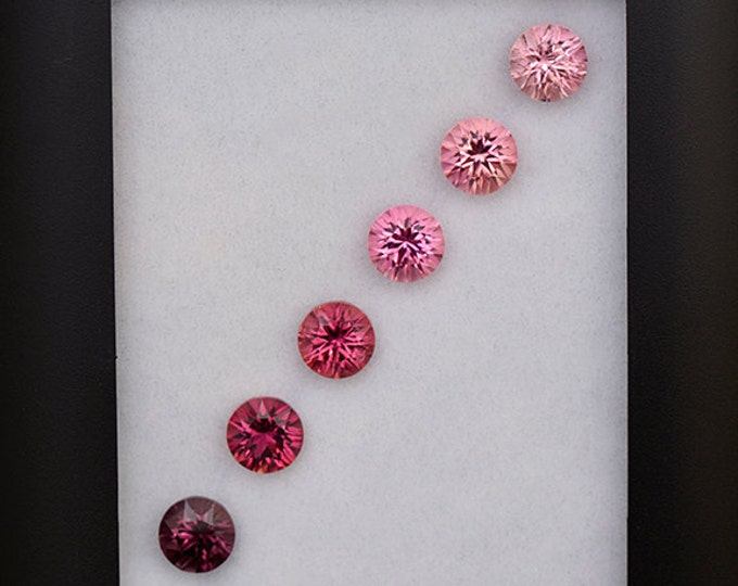 Superb Graded Pink Tourmaline Gemstone Set Matching Concave Rounds 6.03 tcw.