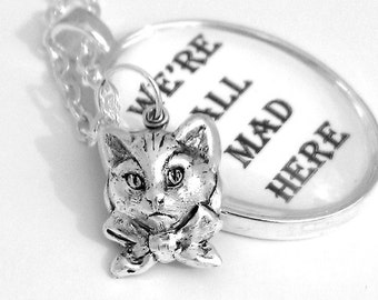 Cheshire Cat Alice in Wonderland Silver Pendant Necklace Lewis Carroll Black and White We're All Mad Here