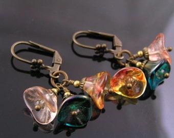 Flower Earrings, Flower Cluster Earrings, Green and Orange Czech Flower Bead Earrings, Czech Flower Jewelry, Beaded Czech Earrings