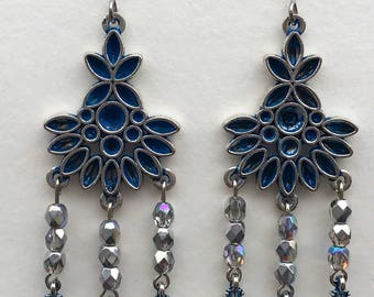 Wash Blue Patina Flower Chandelier Earrings
