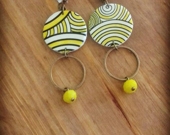 Yellow spiral earrings