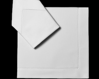 "22x22"" Handmade Linen Classic Hemstitch Dinner Napkins (Set of 4)"