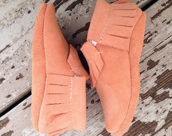 Peach Suede Leather Baby Toddler Moccasins Moccs