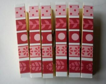 Tilda Wintergarden Pegs Clothespins Magnets Striped