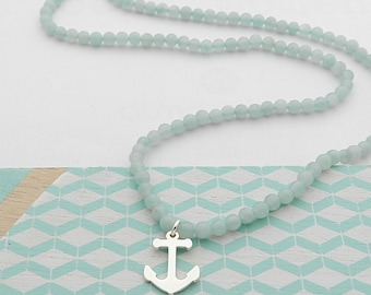 Genuine Amazonite and silver anchor necklace