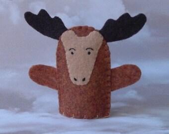 Moose Finger Puppet - Felt Animal Puppet - Wildlife Finger Puppet Moose - Felt Moose Puppet