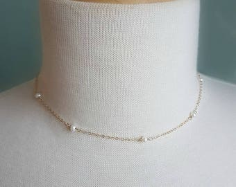 Minimalist Sterling Silver Floating Pearl Necklace // Bridal Jewelry // Bridesmaid Jewelry // Bridesmaid Set