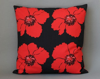 Pillow cover cushion cotton carrot Black Red 40 x 40 cm red poppy