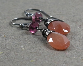 Peach Moonstone Earrings Pink Tourmaline Dangle Oxidized Sterling Silver Gift for Her Pastel Jewelry