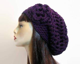 Crochet Purple Slouchy Hat with flower Crochet Beanie crochet women's hat Purple Slouchy Beret Purple Hat Crochet Slouch Hat Purple beanie