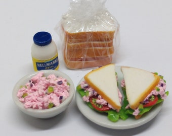 1:12 Tuna sandwich set dollhouse miniatures
