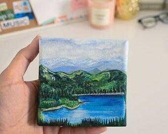 "Nature Painting Art Acrylic Original // ""4 x 4"" canvas"