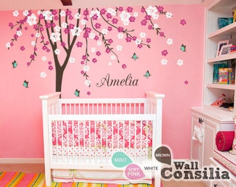"Baby Nursery Wall Decals Cherry Blossom Tree Wall Decal Tree Decal Butterfly Decal Kids Room Mural Decor Large: approx 113"" x 93"" - KC023"