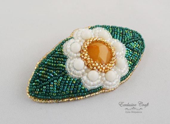 Flower Bead Embroidery Medium Hair Barrette Hair Accessories