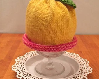 Pink Rosebud and Yellow Baby hat