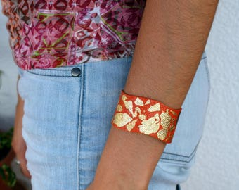 Coral and gold leather Cuff Bracelet