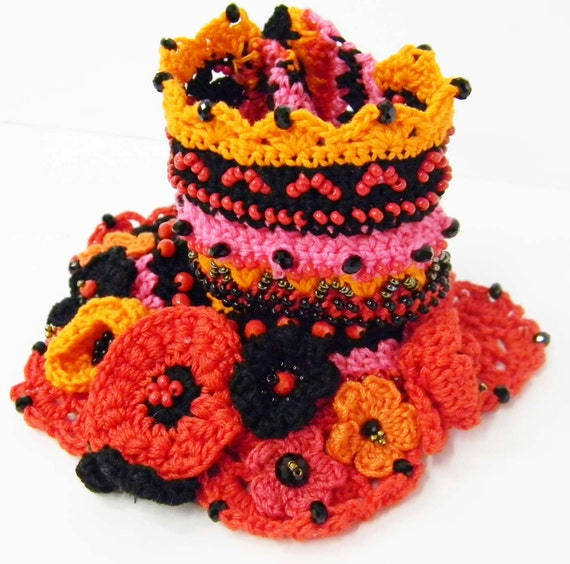Crochet bracelet cuff  -Free form -  cotton thread with colorful crocheted flowers and glass beads