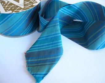 "Sea Gala teal stripe Dupioni Ribbon 2"" wide sold by the yard"