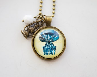 Jelly Fish Necklace - Sea Creature Pendant - Ocean Pendant - Nature Lover - Marine Biology Fish Necklace - Gift for Science Teacher