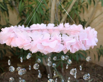 Crystal Baby Mobile, Pink Baby Mobile, Flower Baby Mobile, Baby Mobile