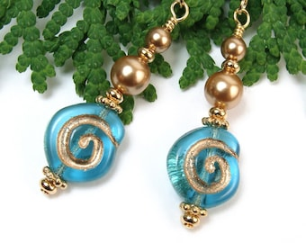 Aqua Blue Earrings, Gold Spiral Earrings, Gold Pearl Earrings, Handmade Beaded Jewelry, Blue Gold Dangles, Czech Glass Boho Dangles, Unique