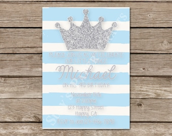 Prince First Birthday Invitation, Digital File, You Print
