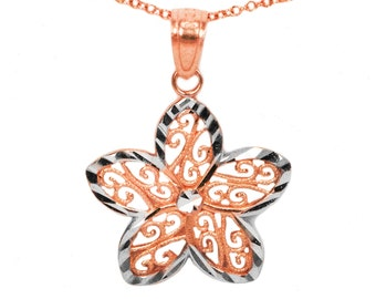 10k Rose Gold Flower Necklace