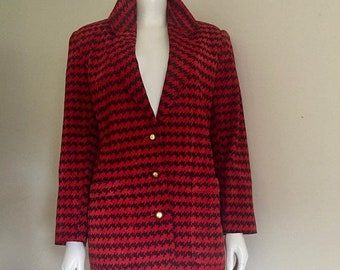 Vintage The Limited / Red Black Jacket / Zigzag / 80s Clothing / Suede Jacket / New Wave / Hipster