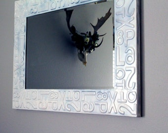 Large White Metal Mirror, Decorative Edge, Wall Decor, Embossed