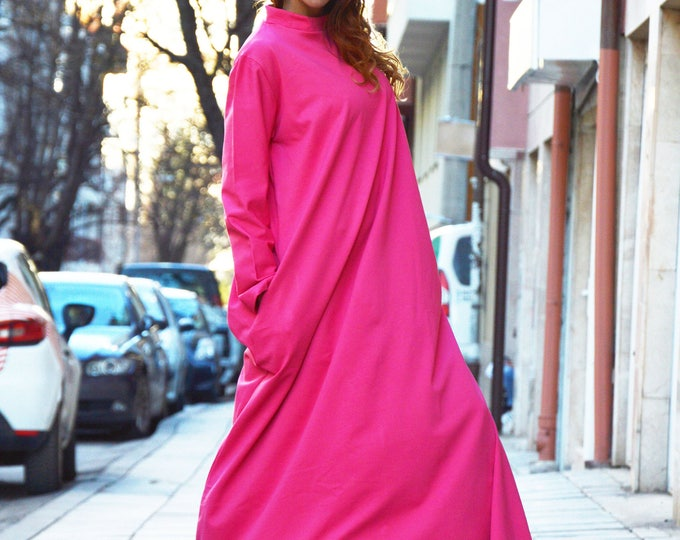 Oversize Long Dress, Extravagant Pink Kaftan Maxi Dress, Long Sleeves, Loose Dress, Side Pockets by SSDfashion