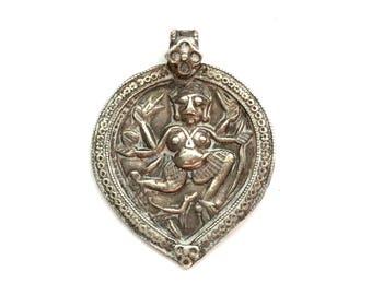 Vintage Sterling Silver Ethnic Indian Rajasthani Goddess Kali Amulet Pendant