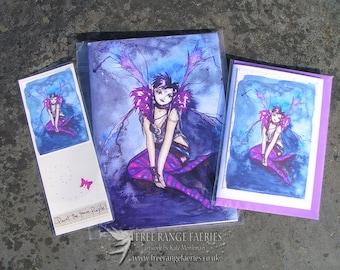 Notebook, Bookmark, Handmade Card Gift Set, Fairy Gift Set, Notebook Set, Fairy Gift, Handmade, Stationary Set, Faerie Art, Roxy Purpletoes!
