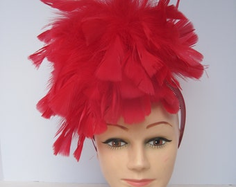 All Feathered Ravishing Red & Flambuoyant Headpiece