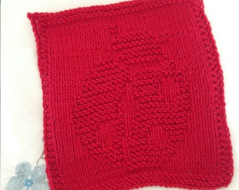 PATTERN - dishcloth / washcloth knitting pattern - ladybug