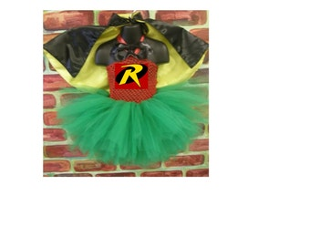 Robin crochet tutu dress  costume complete, robin and batman