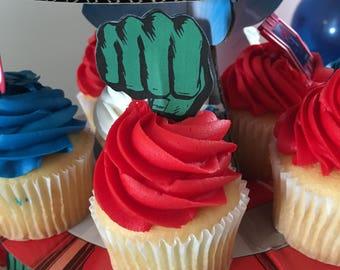 Hulk cupcake toppers Etsy