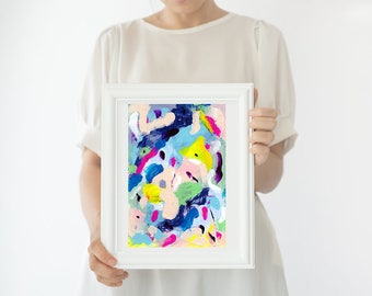 colorful art, watercolor painting abstract painting original, bright wall art, Mothers Day gift ideas, classroom decor, living room wall art