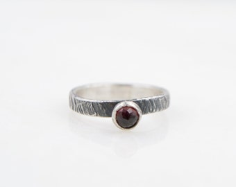 Garnet -  Stacking Ring  - Hammer Textured Band - Recycled Sterling Silver