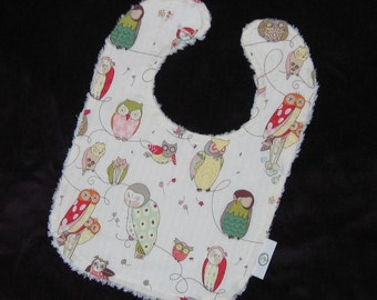 Cool White Owls and Chenille Bib - SALE