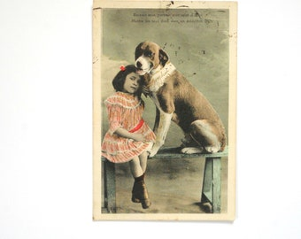 Girl and dog tenderness-1907-card-old postcard-french 1900 s card fancy glitter