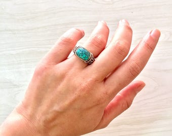 Turquoise Ring | Southwestern Jewelry | Sterling Silver | Bohemian Jewelry | Boho Vibes | Ring | Jewelry | Gift for Her | Statement Ring